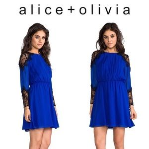 Alice + Olivia blue long sleeve black lace dress
